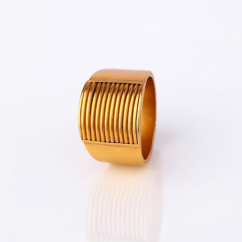 Gold Toned Stripes Ring