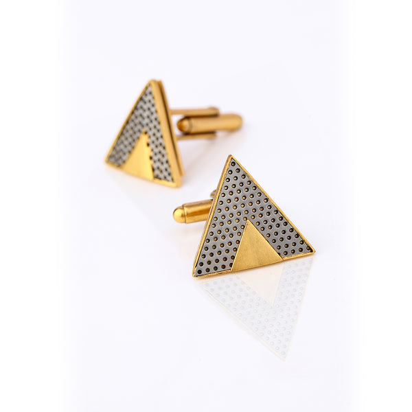Gold Toned Cuff Links With Perforated Steel Detail