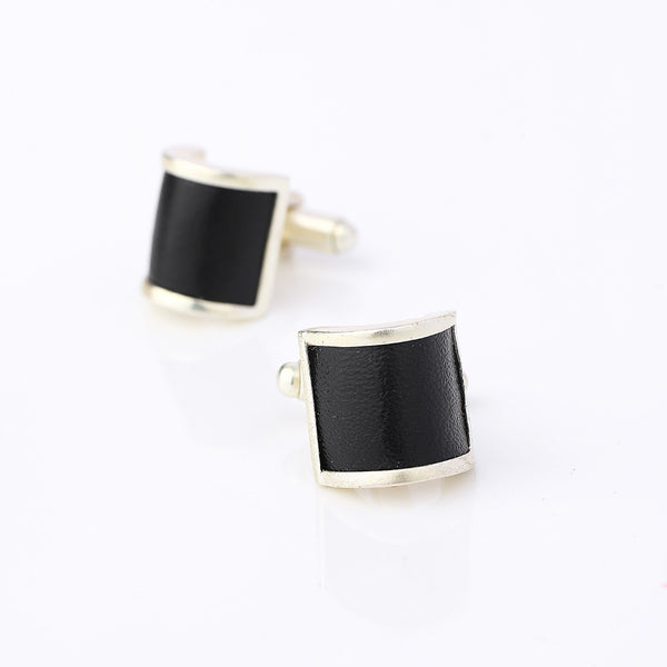 Silver Toned Cuff Links With Leather Detail