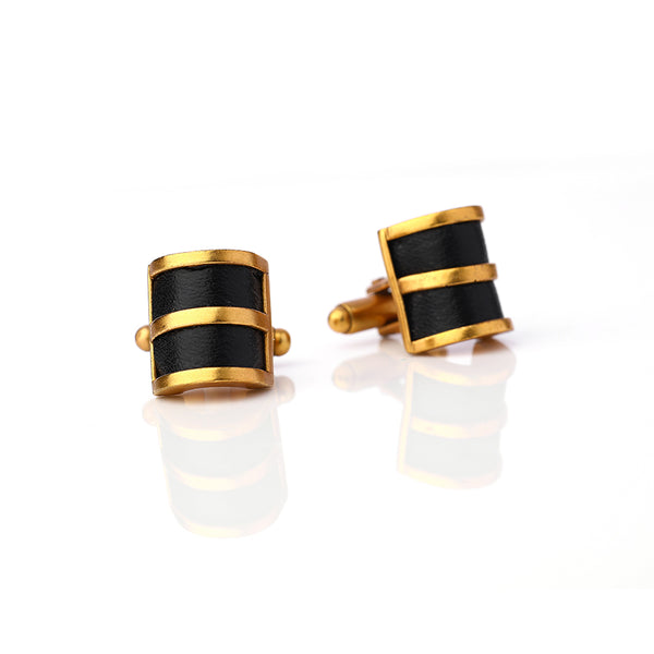 Gold Toned Curved Cuff Links With Leather Panels