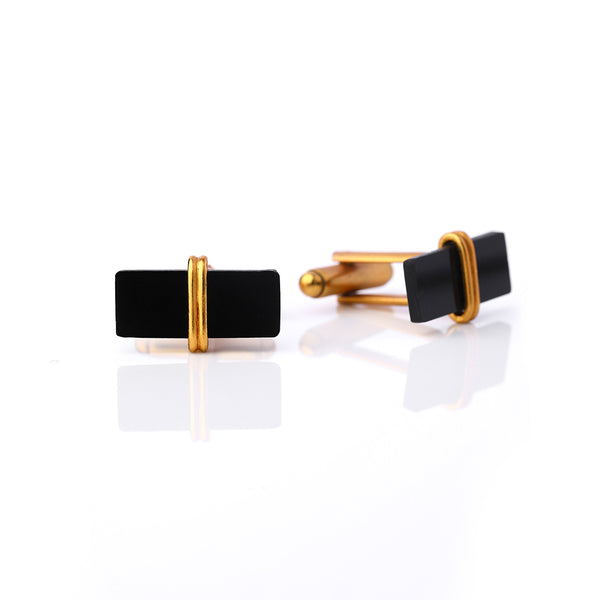 Gold Toned Curved Cuff Links With Rectangular Black Acrylic