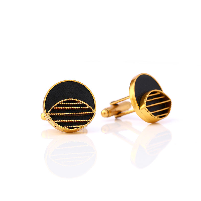 Gold Toned Circle Cuff Links With Eyelet Detail