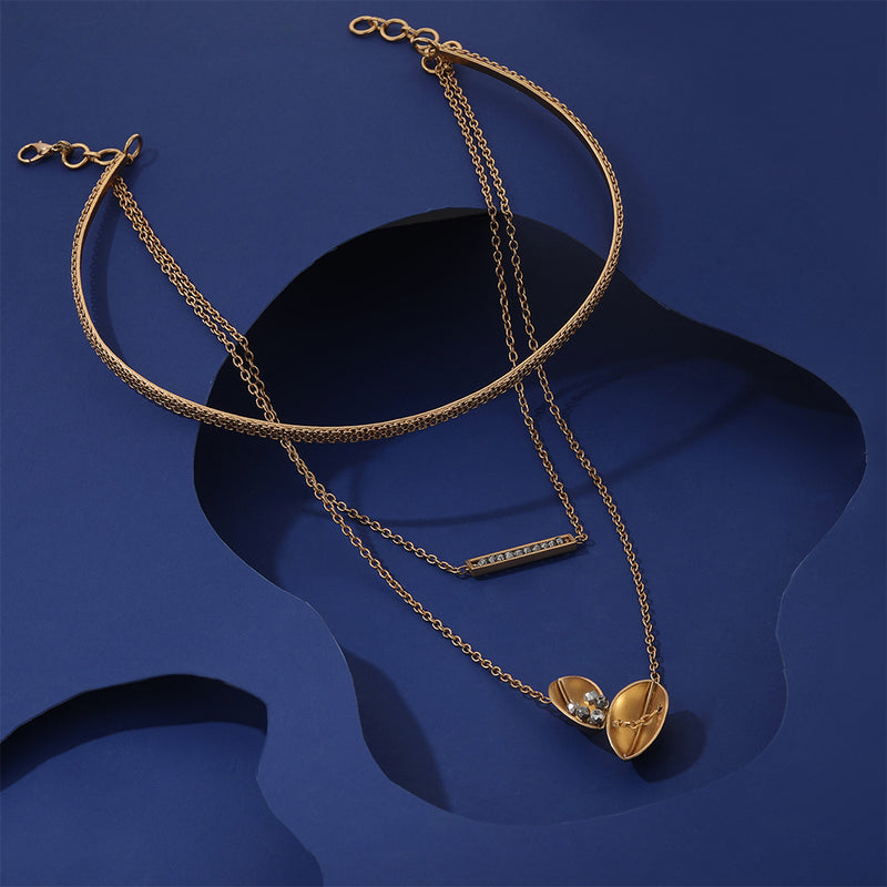 Gold Toned Layered Collar Necklace With Pod Pendants