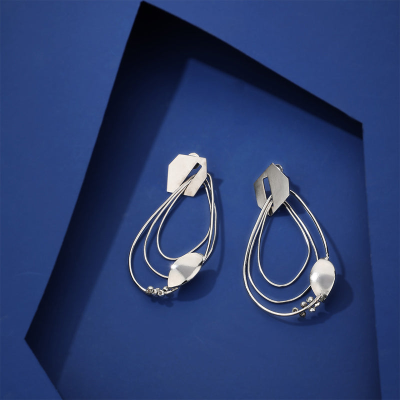 Silver Toned Drop-Shape Nested Hoop Earrings