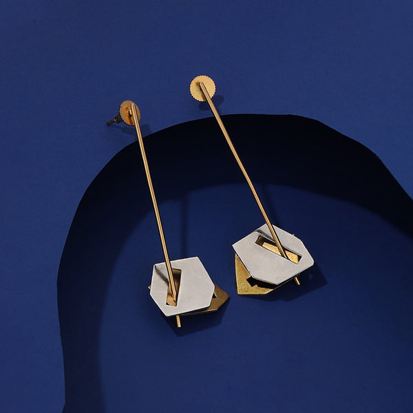 Mixed Metal Pendulum Earrings With Rhomboid Details