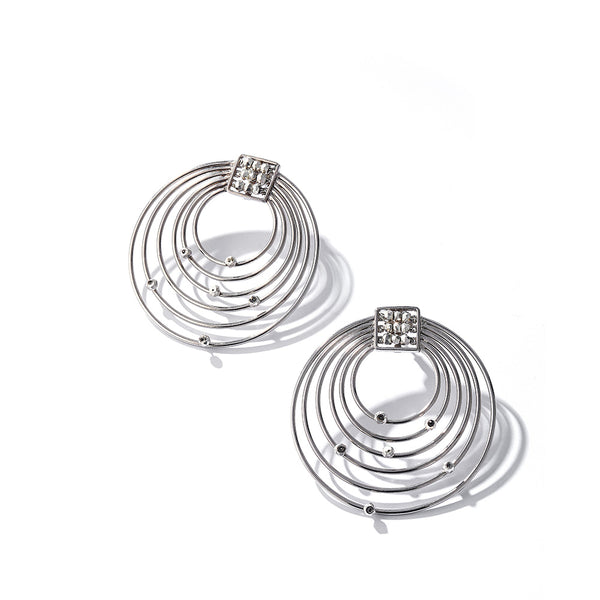 SILVER TONED NESTED CIRCLES EARRINGS WITH Pyrite Bead Details
