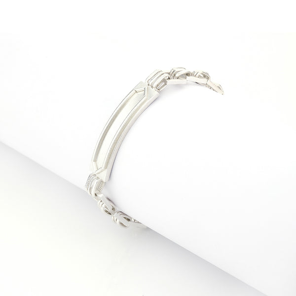 Silver toned square chain ID bracelet