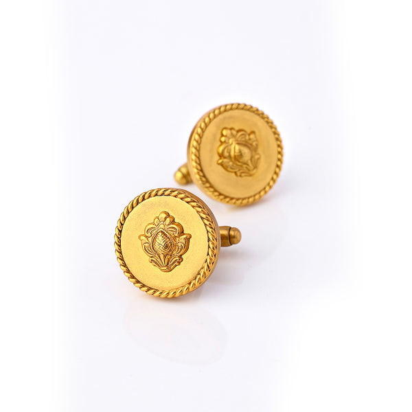 Gold Toned Circular Emblem Cuff Links