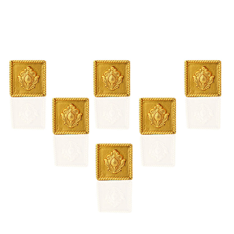 Gold Toned Square Emblem Bandhgala Buttons
