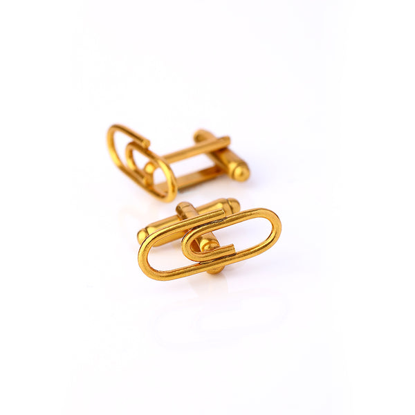 Gold Toned Paper Clip Cuff Links