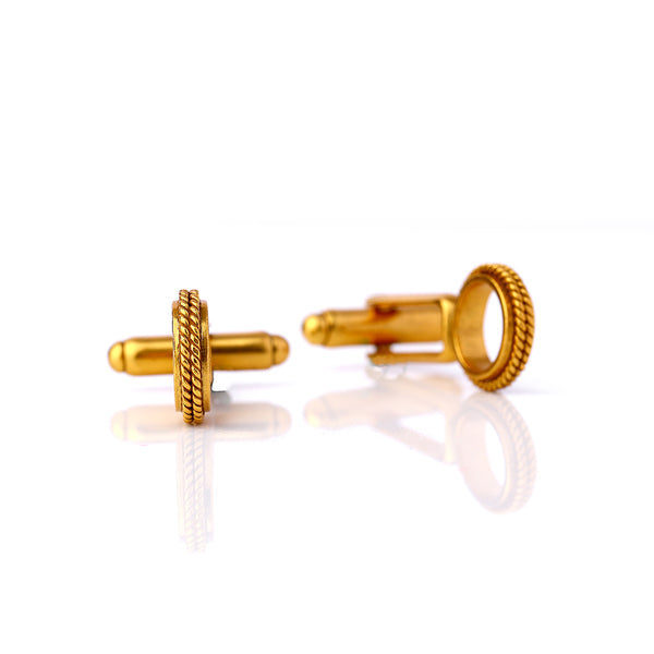 Gold Toned Textured Ring Cuff Links