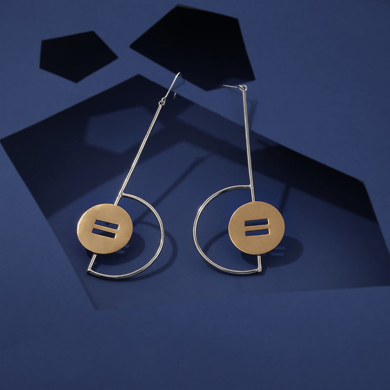 Mixed Metal Pendulum Earrings With Disc Details