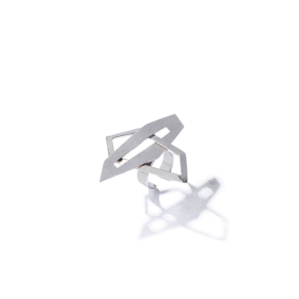 Silver Toned Crossed Rhomboid Finger Ring