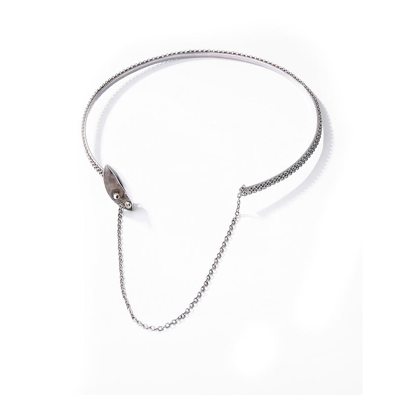 Silver Toned Pod Necklace With Chain Detail