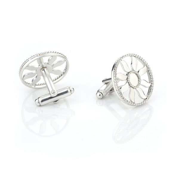 Silver toned twisted wire sun emblem cufflinks