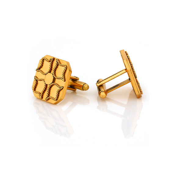22k gold plated twisted wire insignia cufflinks
