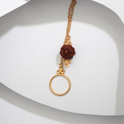 GOLD TONED CIRCULAR LUMBA RAKHI WITH RUDRAKSHA BEAD