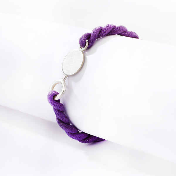 Purple twisted cord with a silver plated motif