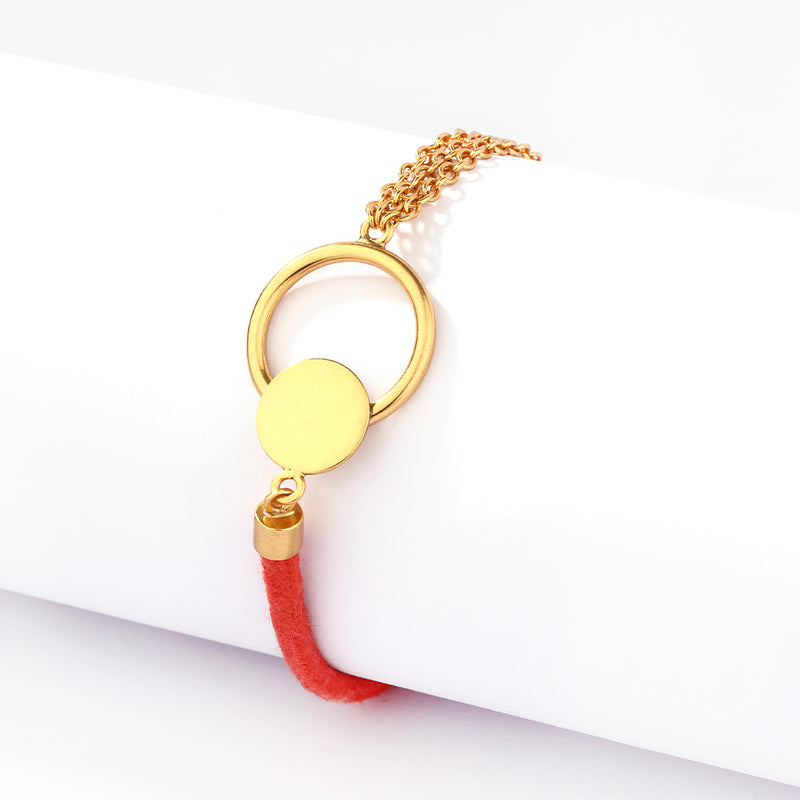 GOLD PLATED 3 LINE CHAIN AND RED SINGLE CORD BRACELET WITH ROUND WIRE AND DOT ON CENTRE