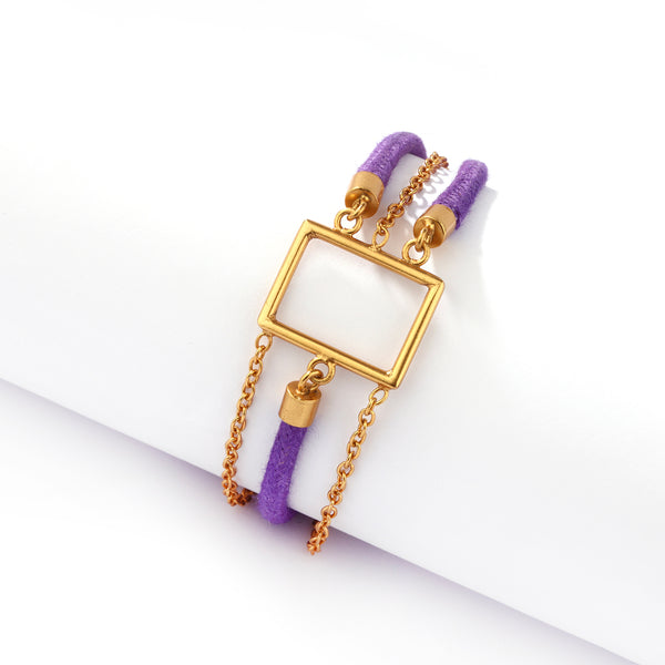 GOLD PLATED 1 LINE CHAIN AND 2 LINE PURPLE CORD BRACELET WITH RECTANGLE WIRE ON CENTRE