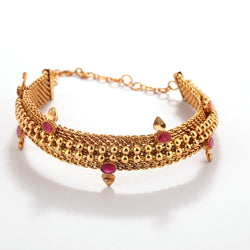 GOLD PLATED BALL CHAIN CHOKER WITH  PINK Crystals