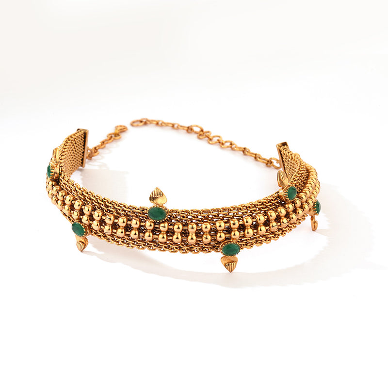 GOLD PLATED BALL CHAIN CHOKER WITH  green Crystals