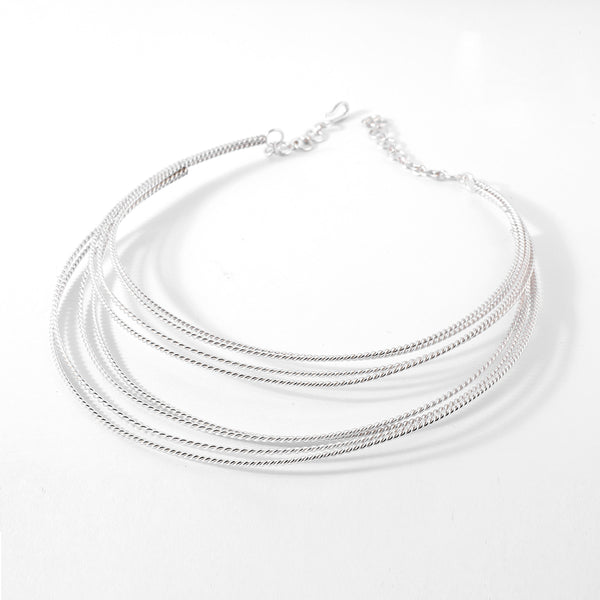 92.5 sterling silver multi line necklace
