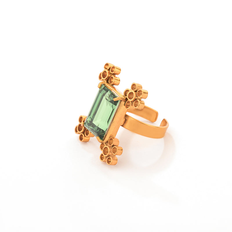 GOLD PLATED bacopa ring with swarovski crystal