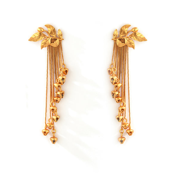 GOLD PLATED SERRATE AND TASSEL CHAIN EARRING
