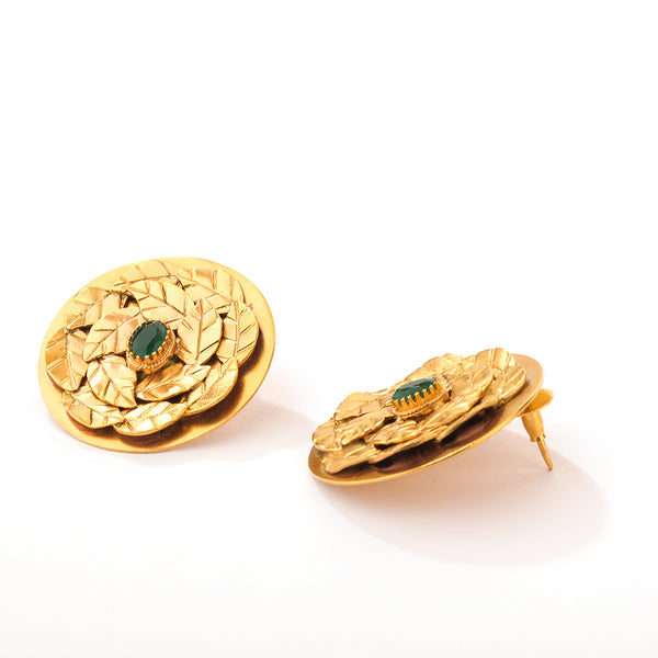 GOLD PLATED SERRATE EARRING with green crystal worn by Neha Dhupia