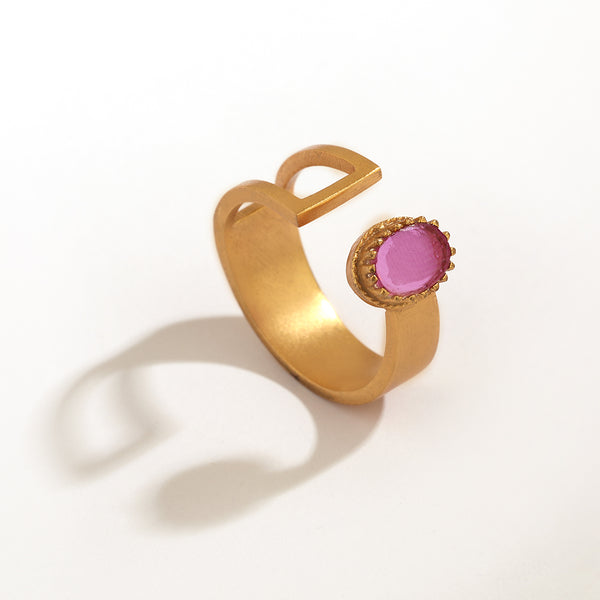 GOLD PLATED HALF CUOUT AND HALF PLATE RING WITH OVAL PINK XTL