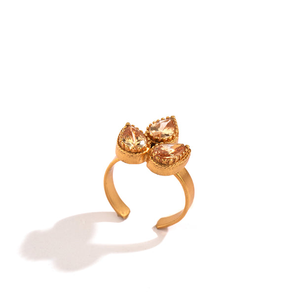 GOLD PLATED RING WITH 3 PEACH DROP STONE