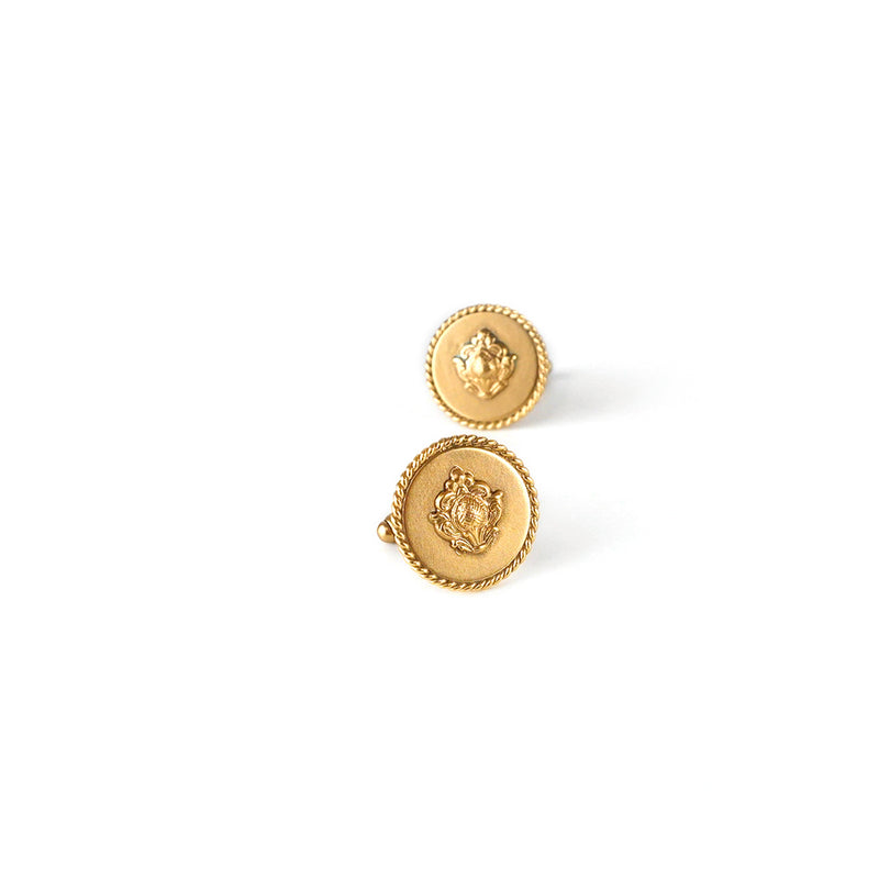 GOLD PLATED FLAT ROUND TWISTED WIRE AND STAMP CUFFLINK