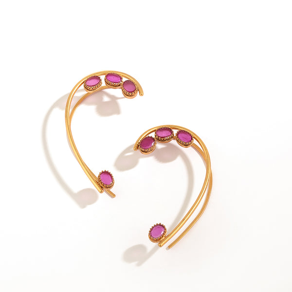 GOLD PLATED WIRE AND 4 PINK OVAL CRYSTAL EARCUFF