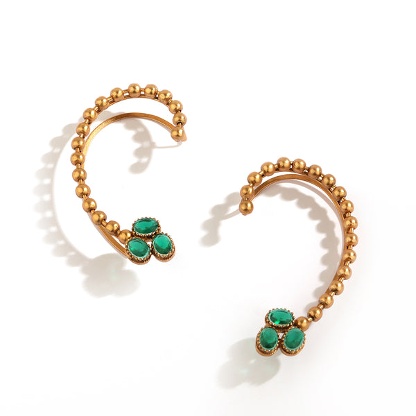 GOLD PLATED BALL CHAIN & 3 GREEN OVAL CRYSTAL EARCUFF