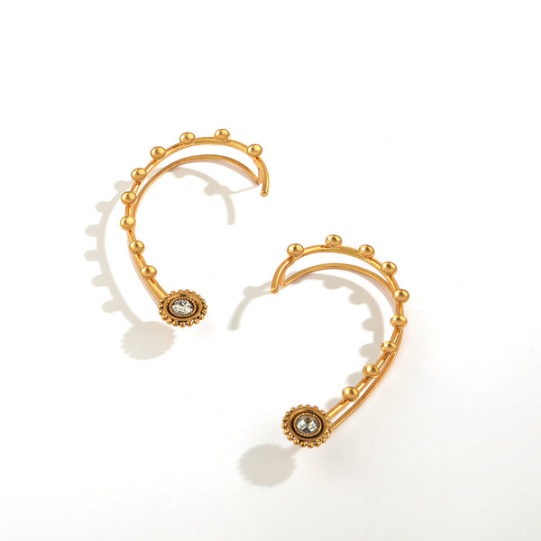 GOLD PLATED SMALL KATERI'S AND ROUND POLKI EARCUFF