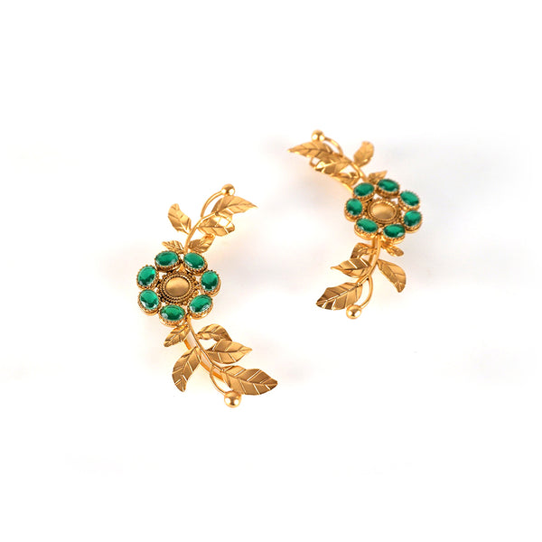 GOLD PLATED SERRATE AND 7 GREEN XTL'S CHAKRA EARCUFF