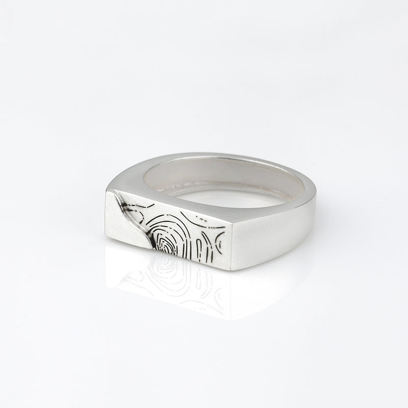 SCULPTED PLANK SQUARE RING WITH ORGANIC IMPRINT