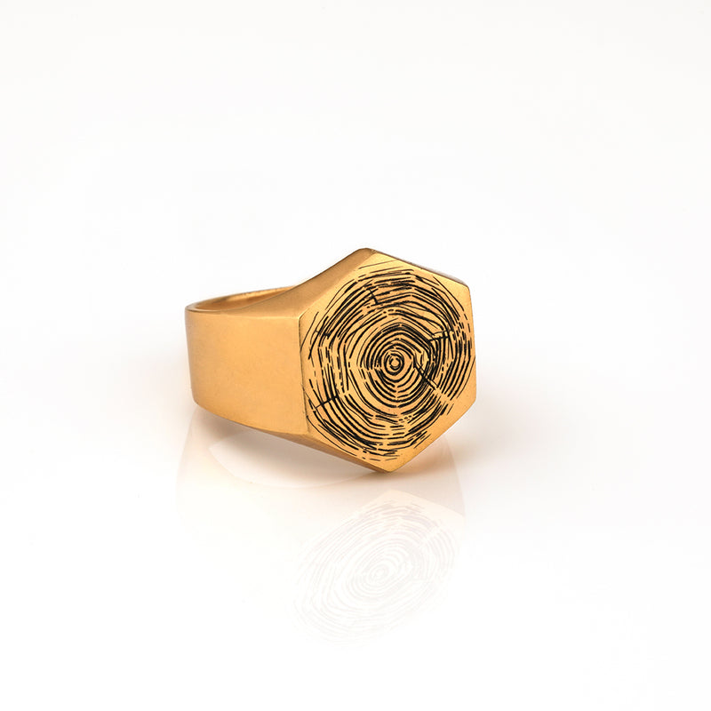 HEXAGON SIGNET RING WITH ORGANIC IMPRINT