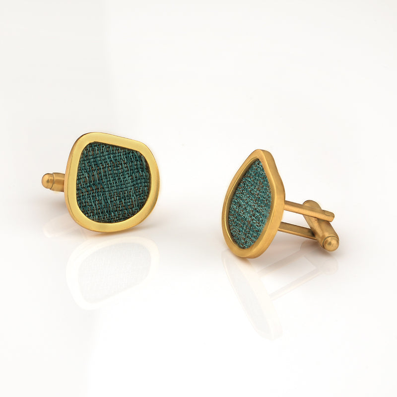 BOLD ASYMMETRICAL CUFFLINK WITH TEXTILE DETAILING