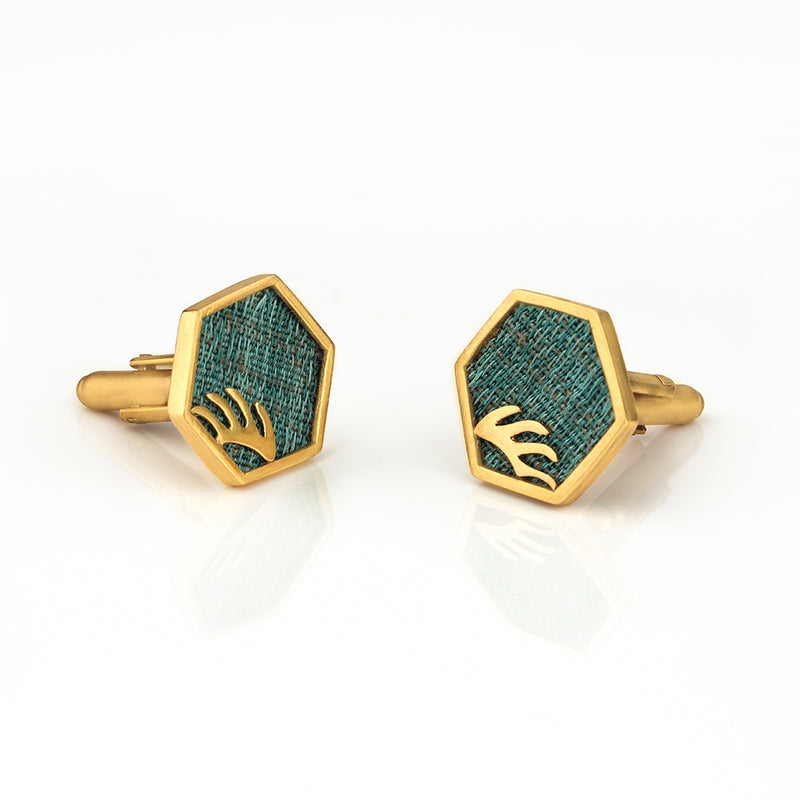 STYLISH HEXAGON CUFFLINK WITH TEXTILE DETAILING