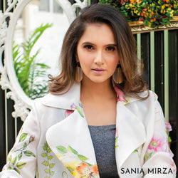 Gold Toned Acrylic Disc Drop Earrings With Beaten Metal Detail WORN BY SANYA MIRZA