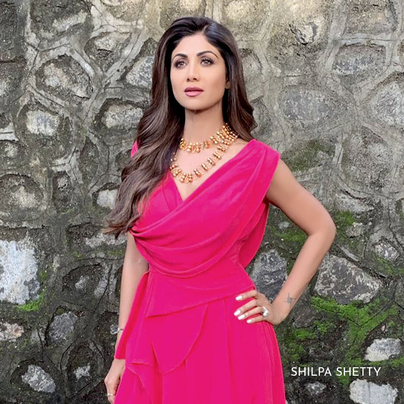 GOLD TONED MOGRA BUDS LONG NECKLACE WITH OPEN PETAL DETAIL WORN BY SHILPA SHETTY