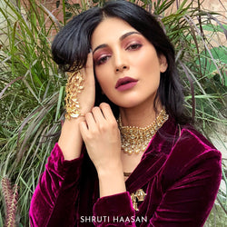 Gold Foliage Glove/Hathphool with Crystals worn by Shruti Haasan