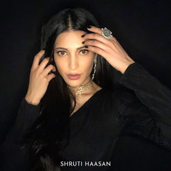 Sterling Silver Square Finger Ring With Floral Emblem & Green Crystals - Worn by Shruti Haasan