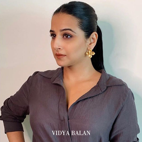 Gold Toned 'Blooms' Stud Earrings Worn By Vidya Balan