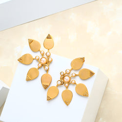 Gold Five Petal Earrings with Pearl Clusters Worn by Sonam Kapoor