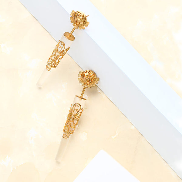 gold-rose-&-filigree-cone-earrings