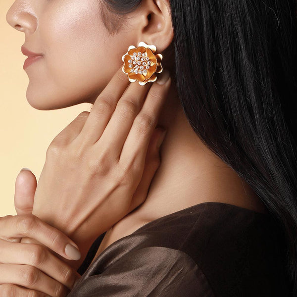 Marvellous Golden Flower Earrings worn by Niharika Konidela