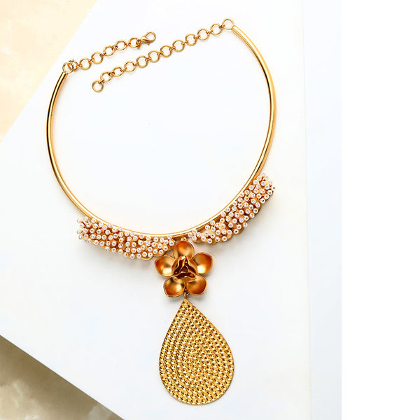Gold Magnolia & Pearl Collar Necklace with Drop Pendant